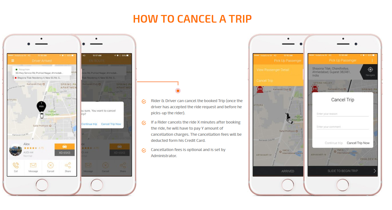 how to cancel a trip screen