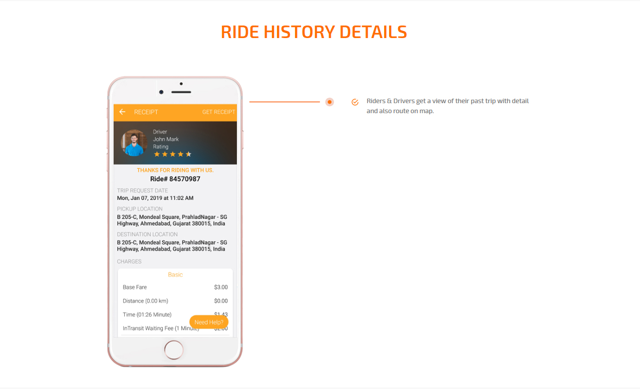 ride history details screen