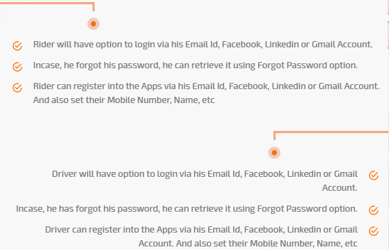 login via email, facebook, linkedin