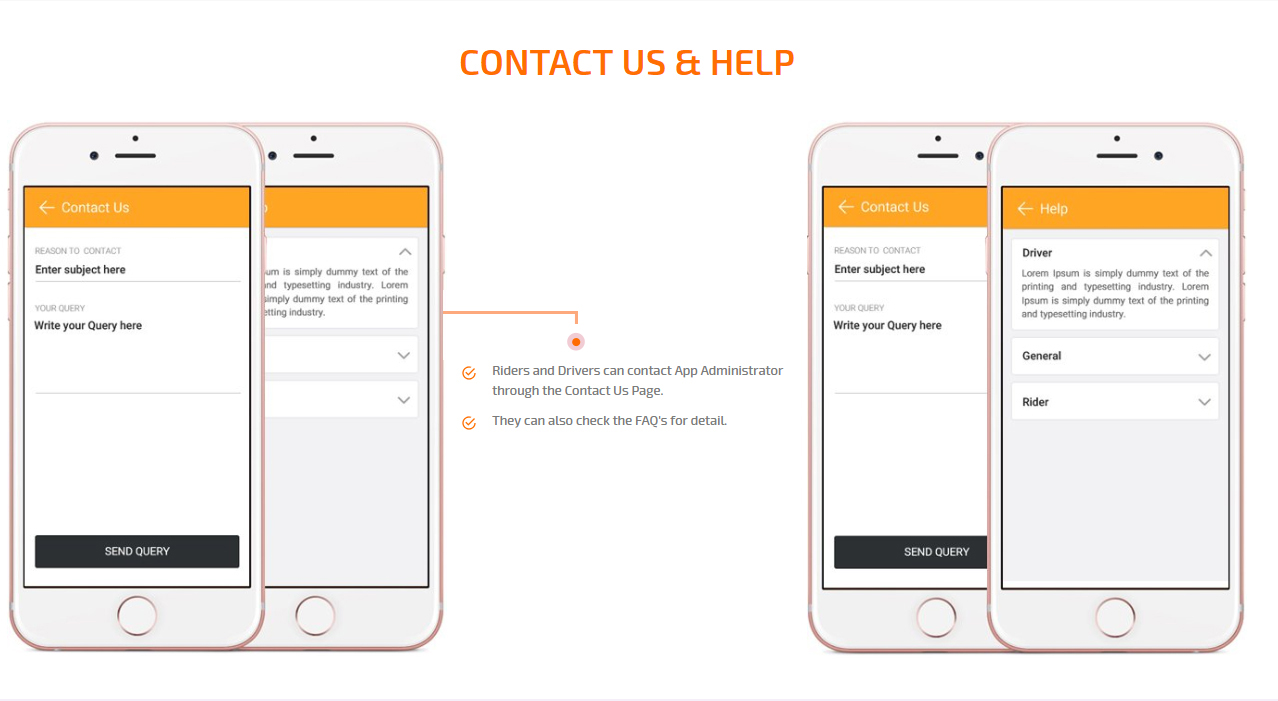 contact us & help screen