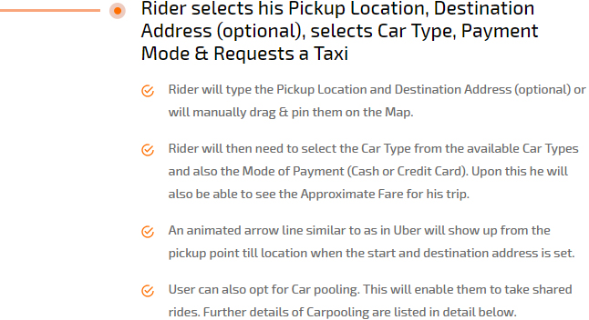 rider selects his picup location, address, payment type, car type