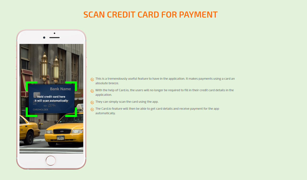SCAN CREDIT CARD FOR PAYMENT