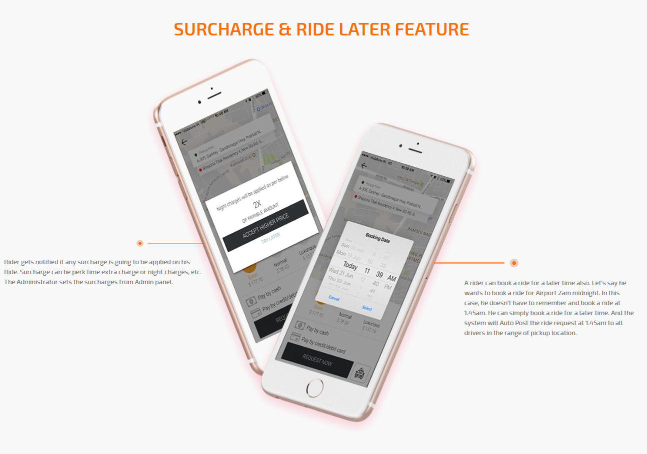 surcharge and ride later feature