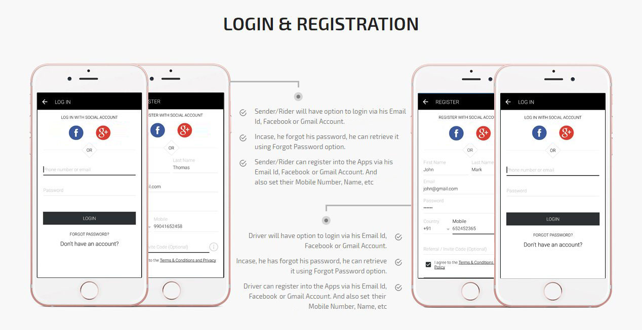 Ride plus Delivery Login & Registration Screen