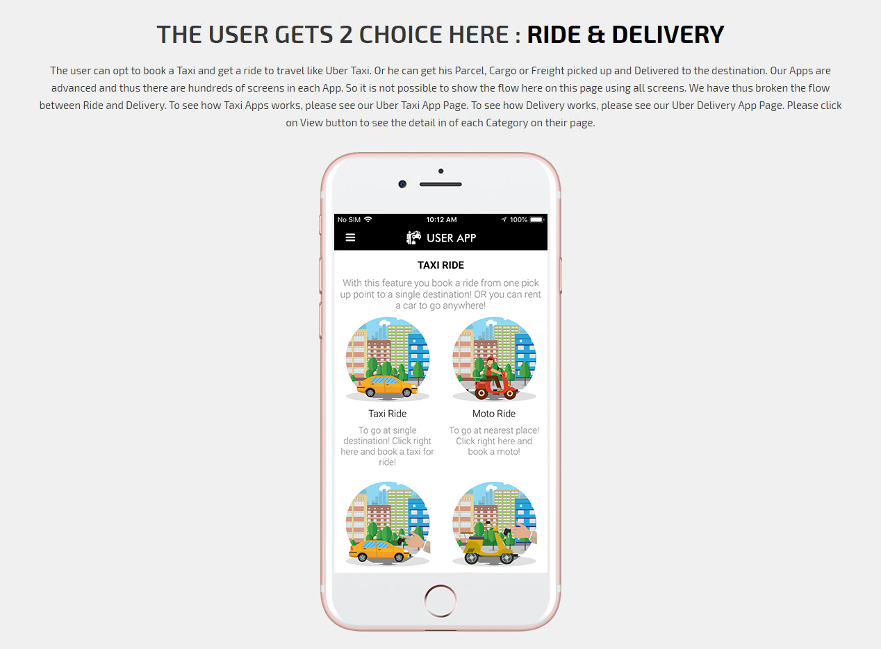 Choose option Ride & Delivery Screen